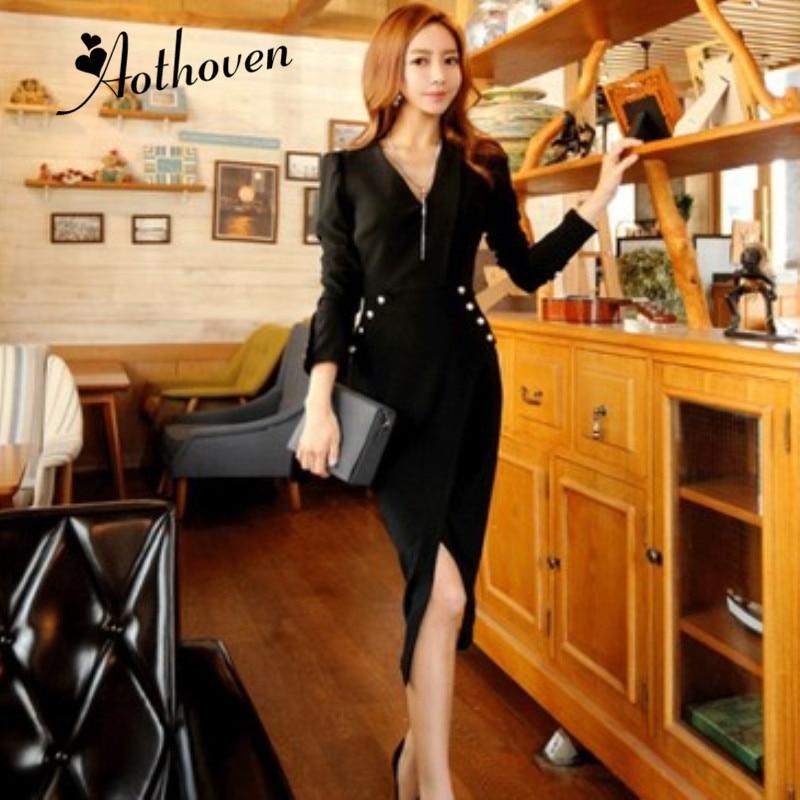 2018 nouveau automne moulante asymétrique robe femmes noir fendu Bandage robe v-cou manches longues Slim Sexy robe de soirée Vestidos