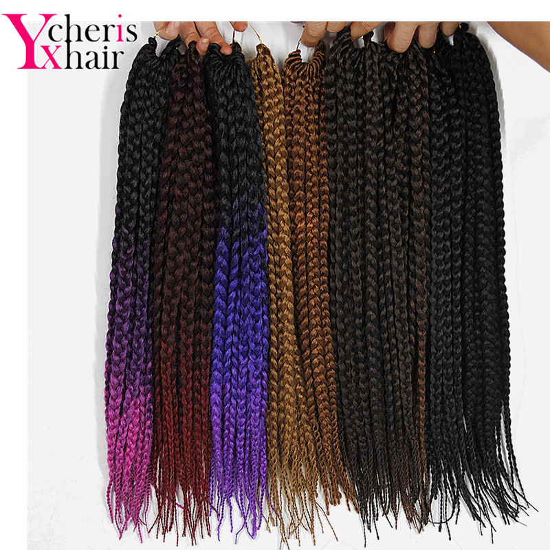 YXCHERISHAIR 18 Ombre YAKI Crochet Box Braids Diosa Hair Synthetic Colorful Braiding Cro ...