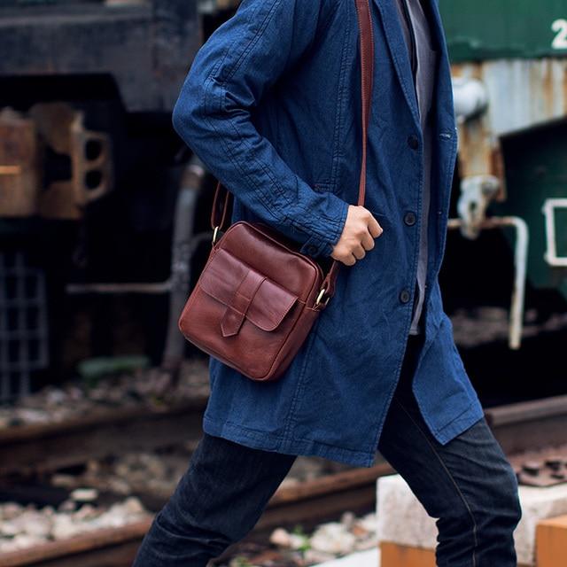 LANSPACE de couro dos homens ombro saco pequeno saco do mensageiro dos homens bolsa de ombro único