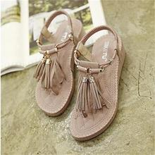 High Quality Summer Style Casual Sandals Roman Style Tassel Flats Women Shoes TPR Soft Bottom Herringbone Flip Wedges Sandals