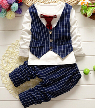 Spring Fashion Baby Boy Clothes Sets Gentleman Suit Toddler Boys Clothing Set Stripe Kids Boy Clothing Set drop shipping anlencool free shipping attitude baby boy valley korean version of the leisure suit baby boy clothing set spring baby clothing