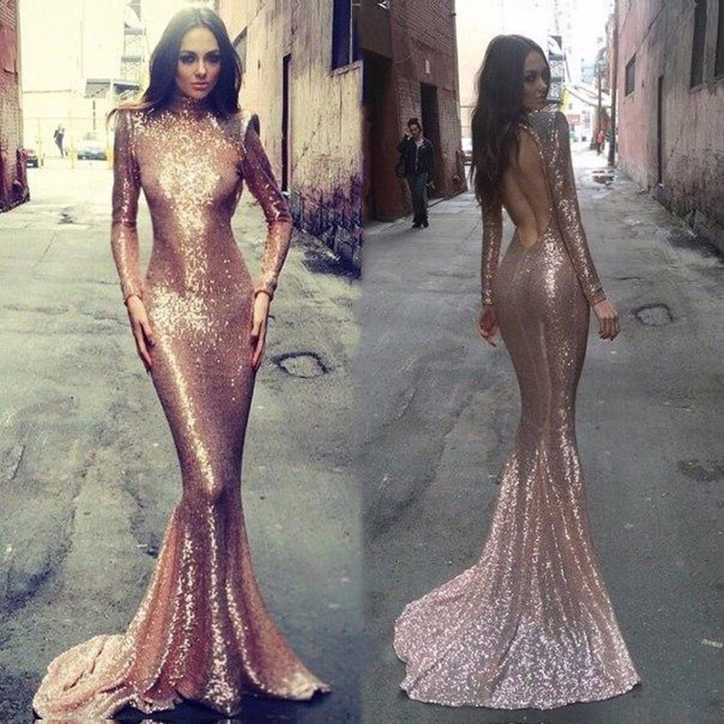 Sexy Backless Evening Dresses Mermaid Long Sleeves Pink Sequin Evening Gown Floor Length Dress for Wedding