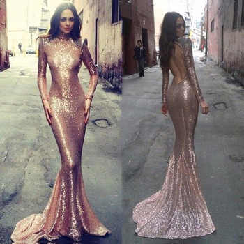 Sexy Backless Evening Dresses Mermaid Long Sleeves Pink Sequin Evening Gown Floor Length Dress for Wedding Party - DISCOUNT ITEM  0% OFF All Category