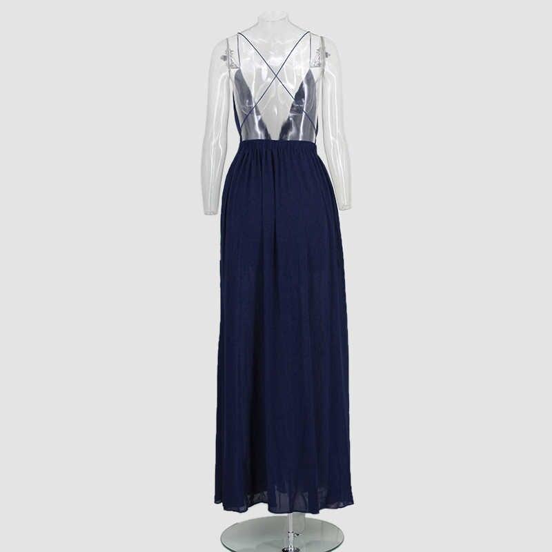 Mùa Hè Đầm Maxi Cho Nữ Màu Sắc Sâu Gợi Cảm Cổ Chữ V Dây, Hở Lưng Cao Chia Dài Sundress Vestidos