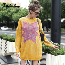 Fitshinling Patchwork Long Sweater Women Korean Style Slim Autumn Winter Sweaters Pullovers 2019 Yellow Pull Femme Jumpers Sale