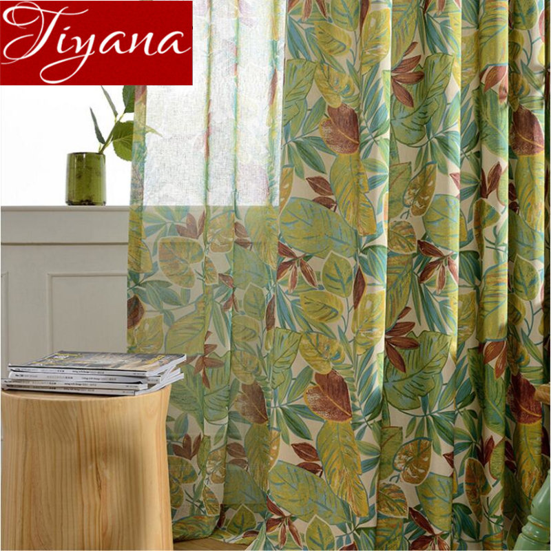 Leaves Curtains For Living Room Green Tulle Curtains