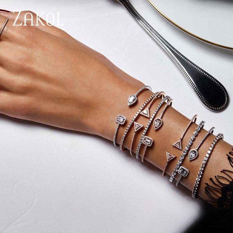 ZAKOL Trendy Exquisite Runde & Wasser Tropfen Micro Pflastern Zirkonia Kristall Manschette Armband Armreif für Frauen Kleid Schmuck FSBP2009