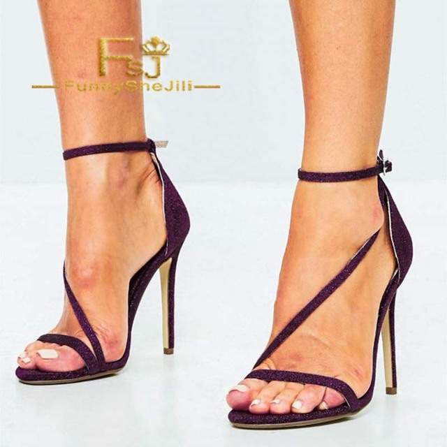 6541645469 Plum Sparkly Ankle Strap Sandals Open Toe Stiletto Heels US Size 3-15  Incomparable Generous Attractive Fashion Women Shoes FSJ. 1 order