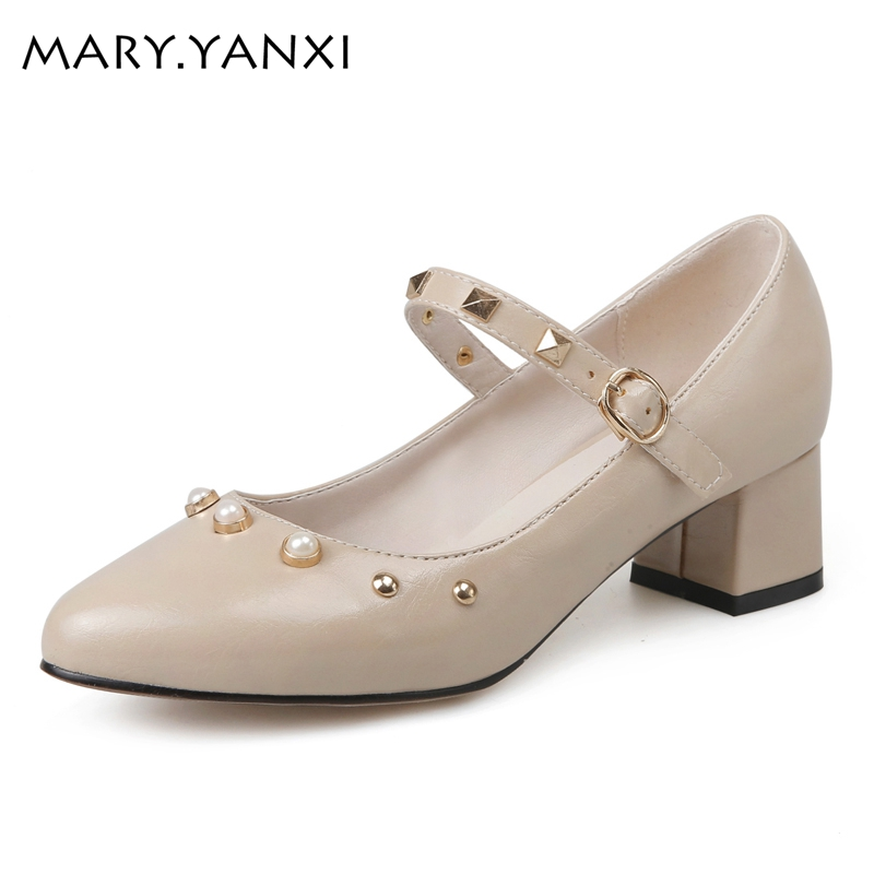 Фотография Big size shoes women square heel pumps women shoes pumps woman shoes fashion women med heel pumps sweet mary janes womens shoes