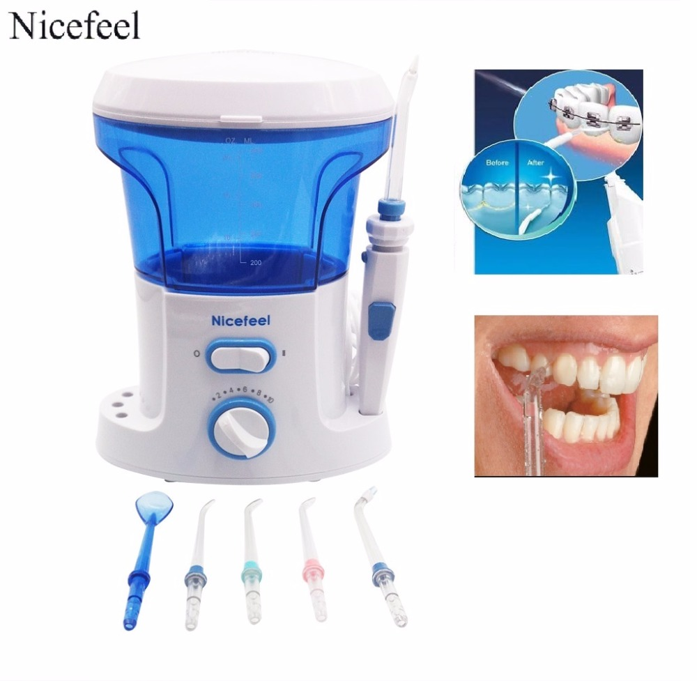 Home Pack Dental Water Flosser - Water Jet For Teeth & Flossing Oral irrigator 600ml Tanks + 7 Tips For Tooth Braces handle for waterpik wp 100 oralcare oc1200 oral irrigator water pick pik flosser jet spa dental floss teeth cleaning hygiene