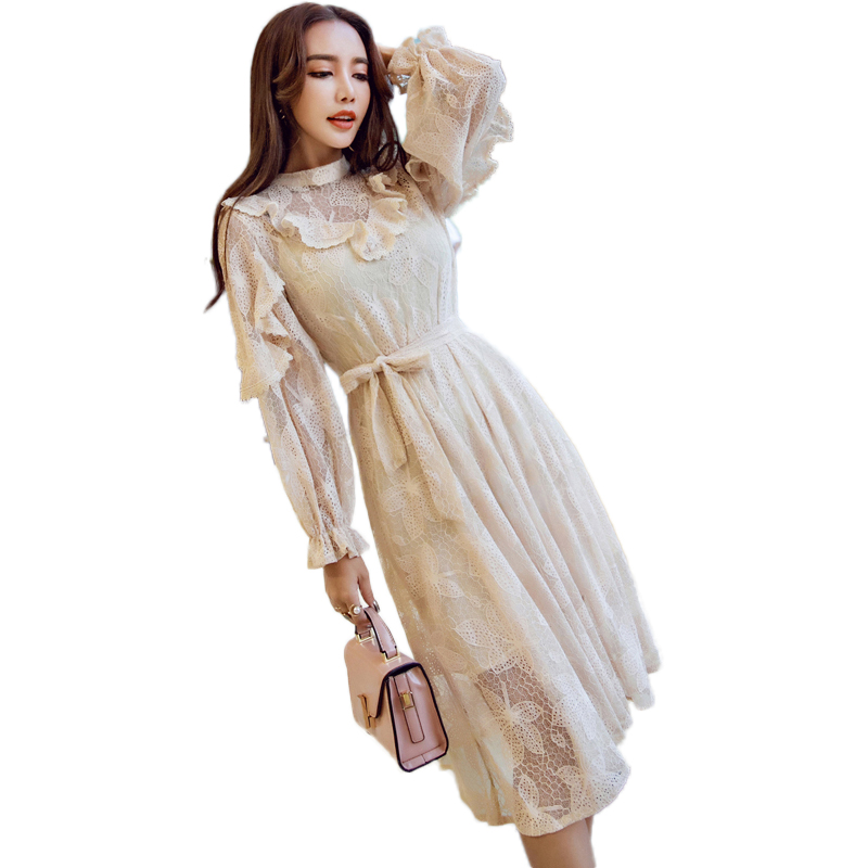 Lantern Sleeve New 2018 Spring Women Dresses Sweet Ruffles Hollow Out Embroidery Lace Party Dress Club Wear Female Cloth OM028