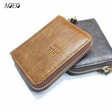 AOEO coin purse Men Woman Minimalist wallet for girls Genuine Cow Leather Mini Small Bag 6 Card holder for credit cards Women