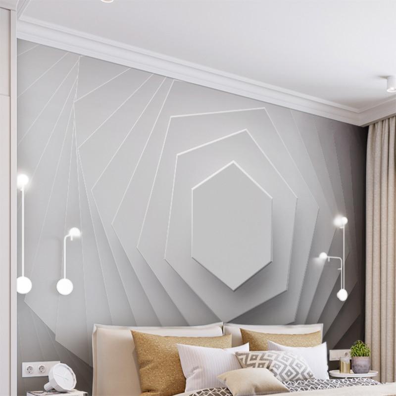 Trendmarkierung Benutzerdefinierte Wand Tuch 3d Relief Abstrakte Geometrie Kunst Wandbild Tapete Für Wände Wohnzimmer Tv Hintergrund Wand Wand Papier Home Decor Heimwerker