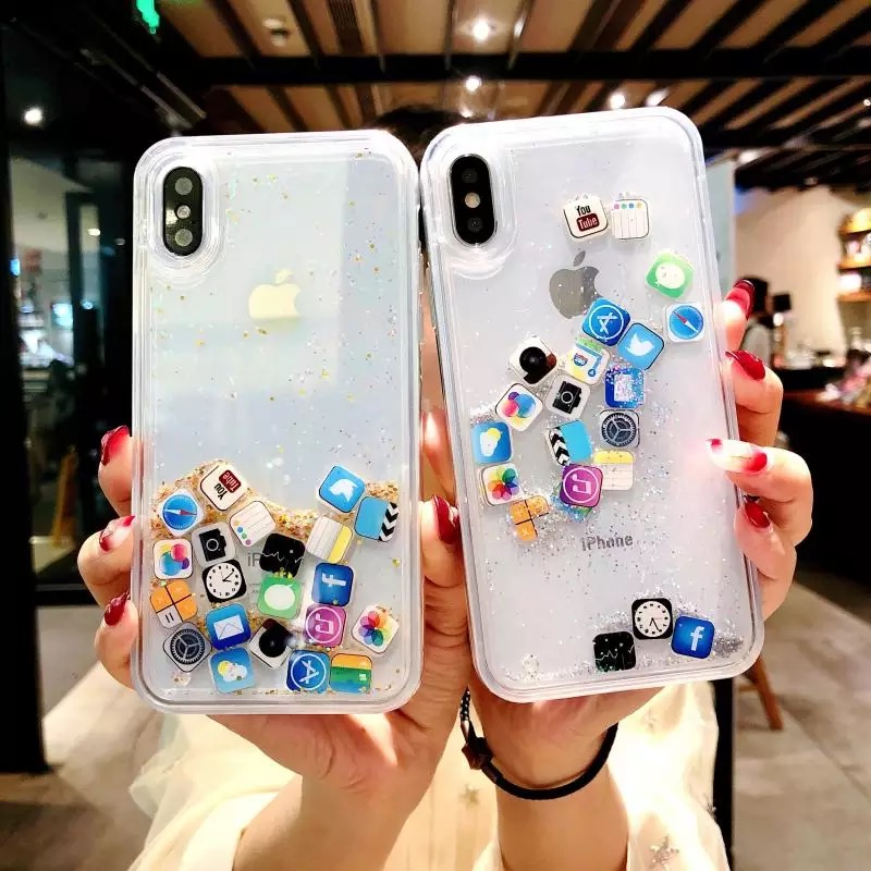 For IPhone 8 Liquid Hard PC Clear Phone Shell For IPhone 6 6S 7 8 Plus X XS XR MAX Cases Quicksand Cover Cute APP Icon Case Capa