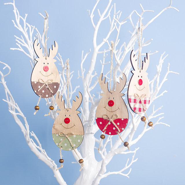 Cute Cartoon Smile Elk Wooden Ornament Christmas Tree Decoration Hanging Pendant Xmas Party Decor for Home Kids Gift Animal 2020 24