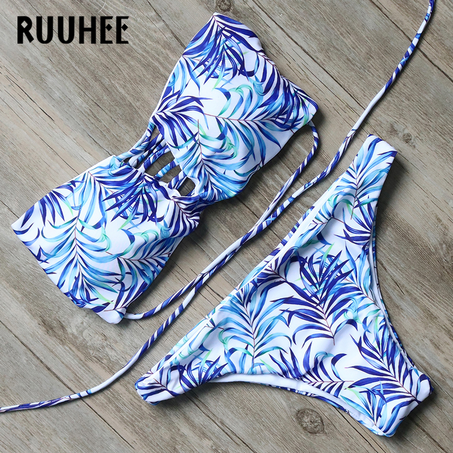 RUUHEE Bikini Swimwear Women Swimsuit Bandage Bathing Suit Sexy Push Up Beachwear 2017 Bikini Set Maillot De Bain Femme Biquini 2017 ruffle one piece swimsuit push up swimwear women sexy monokini solid bathing suit high cut beachwear maillot de bain femme
