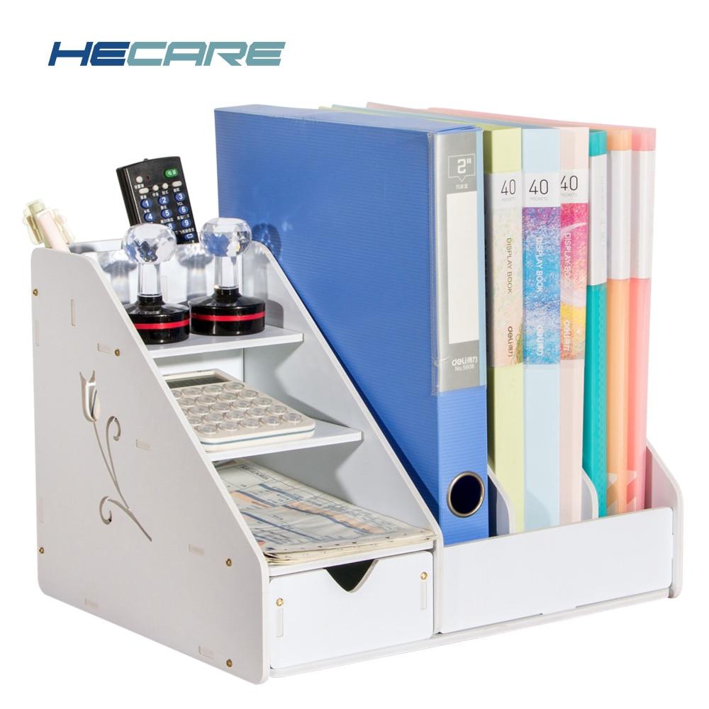 Multifunction Plastic Home Office Storage Holder White Pink Desk Organiser Table Accessories Folder For Doents New
