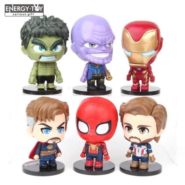 6 pçs/set Final do Filme Avengers Hulk Ironman Thanos Doutor Estranho Homem Aranha Capitão América ação PVC figura boneca toy modelo