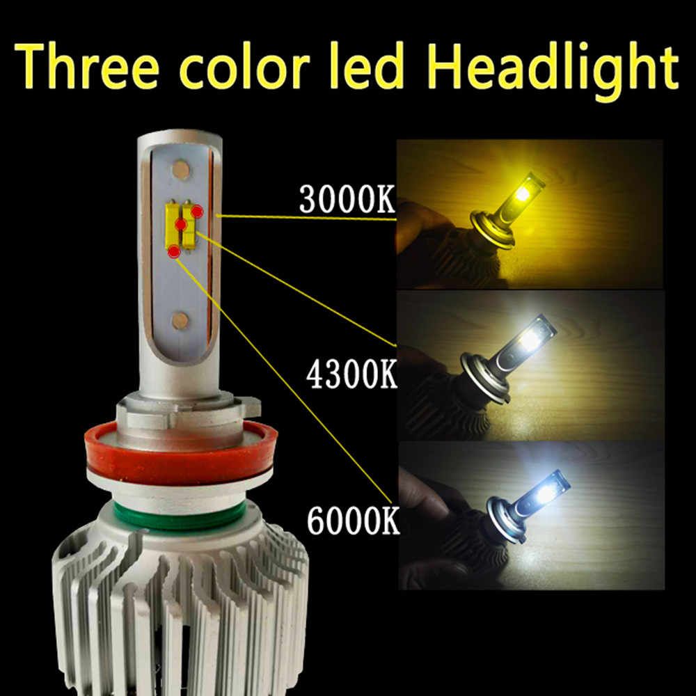 2Pcs T5 Tricolor Auto Headlights H1 H3 H4 H7 H8 H9 H11 9005 9006 3000K 4300K 6000K Car LED Headlight Auto Bulbs three color