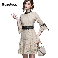 Ryseleco High Quality Women Elegant Solid Mini Dresses Fashion 3 4 Flare Sleeve Lace Up Trumpet