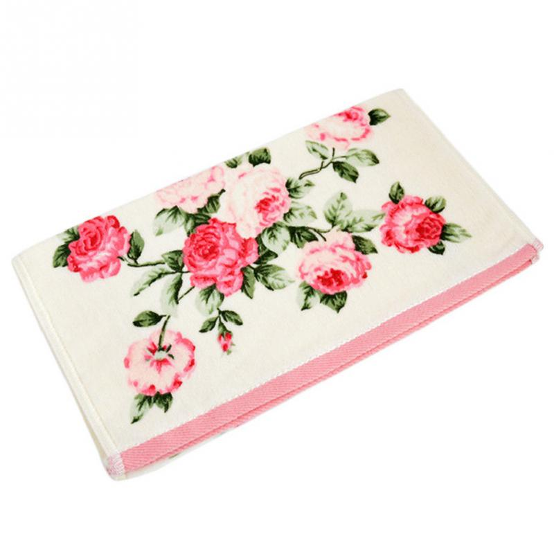 34*75cm 3Colors Home Hotel Soft Cotton Face Flower Towel Bamboo Fiber Quick Dry Bathroom Towels Facecloth pink floral towels