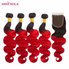 Miss Rola Hair Pre-colored Ombre Brazilian Body Wave Hair 1B/39J 100% Human Hair 4 Bundles With Closure Hair Extensions Non Remy