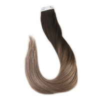 Full Shine 20 Pcs 50 Gram Color #2 Dark Brown Fading to #6 Chestnut Brown to #18 Ash Blonde Remy Ombre Dip Dye Hair Extensions