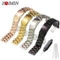 Zlimsn assistir cinta de aço inoxidável 18mm 20mm 22mm 24mm cinto de fivela de metal pulseiras pure sólidos rose banhado a ouro bandas pulseiras