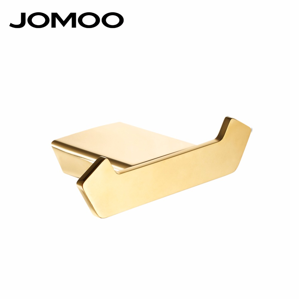 JOMOO Bathroom Robe Hook Brass Wall Hook Alloy Material Bathroom Accessories Coat Hook Wall Hanger Bathroom Hook Gold Hanger fixmee 50pcs white plastic invisible wall mount photo picture frame nail hook hanger