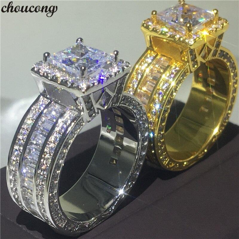 0f974eea5c22 Choucong Vintage corte anillo 925 plata esterlina princesa corte 8mm AAAAA  DE BODA cz banda anillos ...