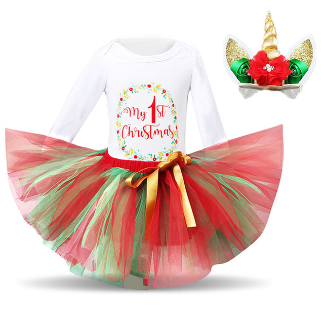 6a03b41ab My Little 1st Christmas Dress Baby Girl Princess First Christmas Party tutu  Ball Gown Kids Birthday Dresses for Infant vestido