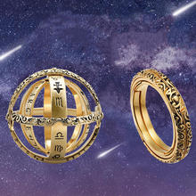Astronomical Ball Ring-shaped Ring Cosmic Retro Rotating Couple Ornaments Vintage Flip Deformation