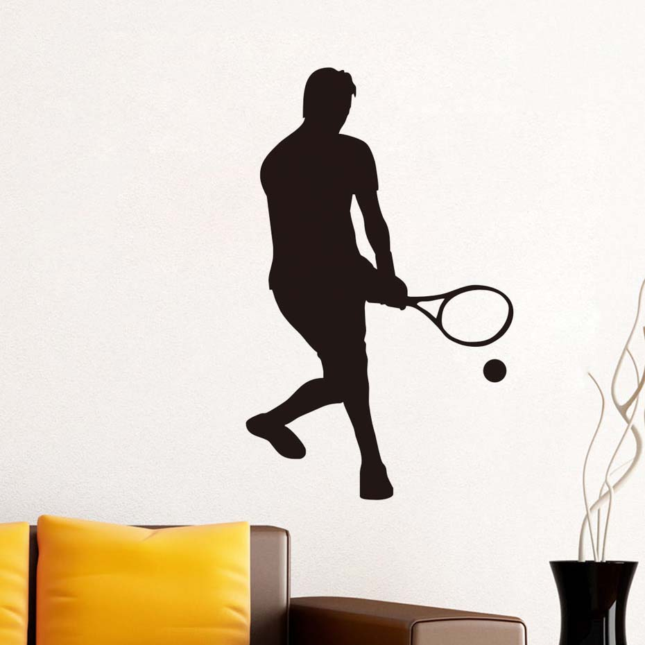 DCTOP New Arrival 2017 Home Decor Vinyl Removable Wall Decal Self Adhesive Low Serve Tennis Wall Sticker For Living Room Mural