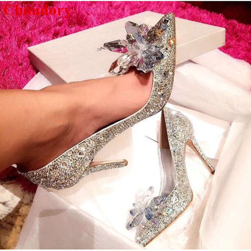 Fashion Design Crystal Covered Pointy Toe Lady Party Pumps Shoes Sparking Floral Rhinestone Studded Women High Heels Pumps Shoes