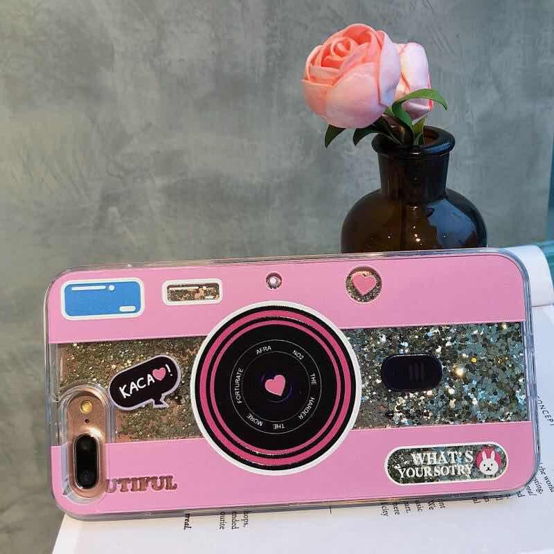 Cute Camera Dynamic Liquid Quicksand Glitter Phone Case For Xiaomi Mi 8 A2 6X A1 5X Mix 2S Redmi 5 plus Note 5 pro Cover Coque (5)