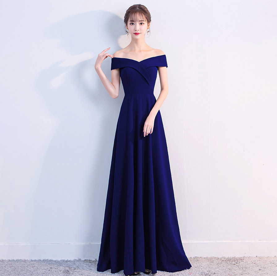 YIDINGZS Navy Blue Boat Neck   Bridesmaid     Dress   New Arrive Real Simple Werdding Party Formal   Dress