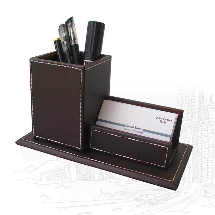 Kingfom organiseur de bureau Set porte-stylo avec Business porte-carte mémo boîte papier Notes tapis de souris papeterie organisateur - 6
