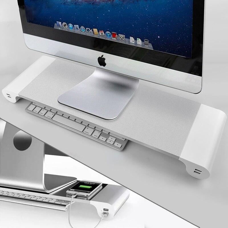 Цена за Для компьютер Apple Mac Дисплей держатель Универсальный алюминиевый ПК монитор стенд ноутбук 4 Порты USB Зарядное устройство Держатель Аксессуары