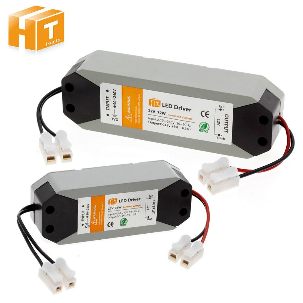 Fuente de alimentación 12V Controlador LED 36W 72W AC 94 V-220 V a 12V DC transformador de iluminación para tira de LED Controlador cree XHP70 6v 5 modo dia26mm input7-18v output6V 4A controlador de linterna Led de corriente constante