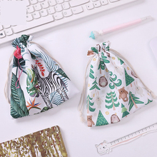 Travel Cartoon Animal Drawstring Portable Data Cable Storage Bag Pouch Earphone Wire Organizer Case for Headphone Box