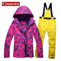Outdoor Sports Women Ski Jacket+Pants Suit Set Windproof Waterproof Winter Sports Jacket Trousers Snowboard Mountain Clothing