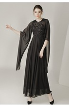 XL Women's Evening Party Clothing Long Dress 2017 Summer Ladies Flare Long Sleeve Sequined Floral Black Long Maxi Dress Muslim