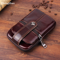 Phone Belt Case for Iphone Xs Max 8 7 S10 S9 Plus Brown Genuine Leather Wallet Bag Luxury Waist Pack Universal Pocket Purse Man