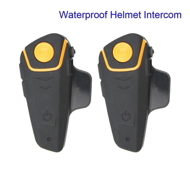 2pcs BT S2 Waterproof Helmet Intercom Motorcycle Headset Handfree Automatic Bluetooth Intercom FM Radio Function Free