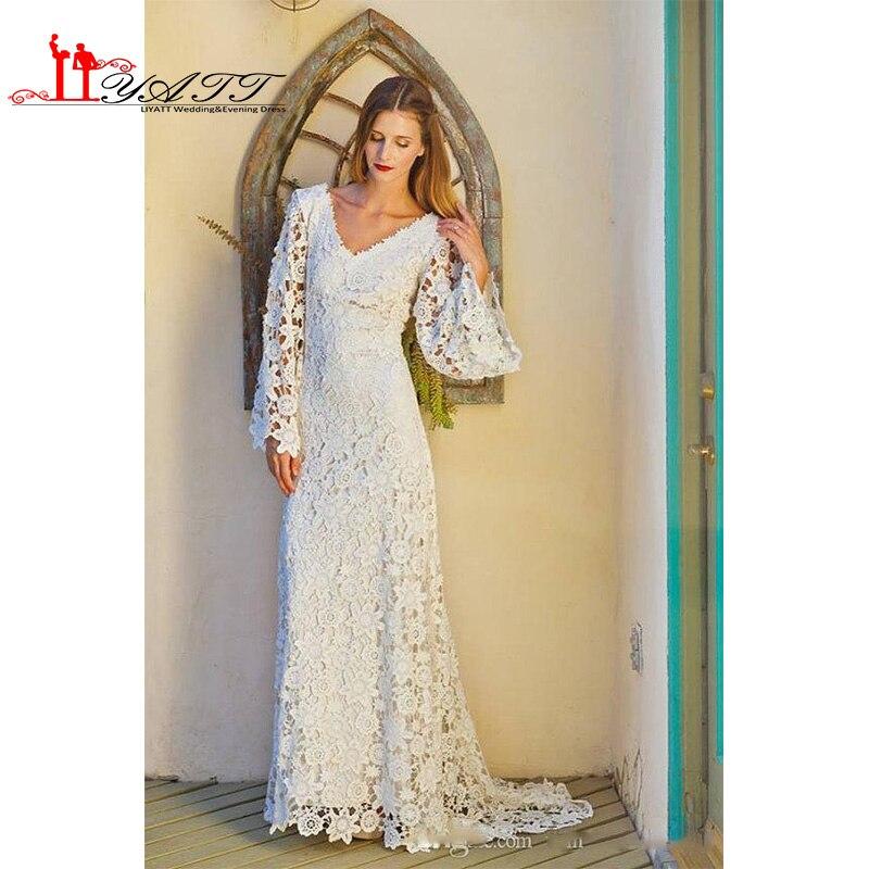 Bohemian Style Lace White Wedding Dresses 2017 Long ...