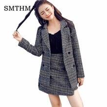 11422f18822 SMTHMA 2019 winter Runway Fashion Women Business Plaid tweed Jacket Coat  Suits +2 piece women skirt suit