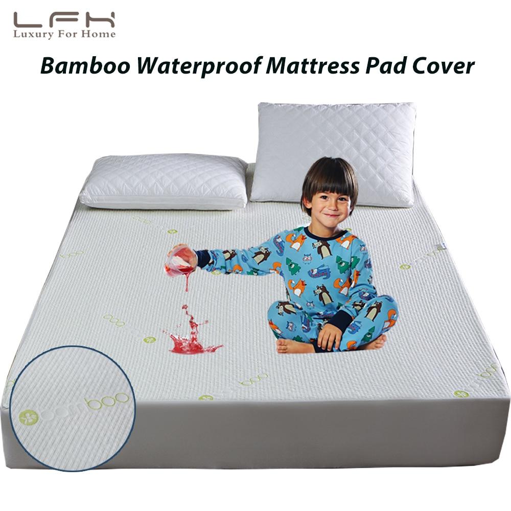 LFH Bamboo Fiber Mattress Pad Jacquard Waterproof Mattress Protector Anti Mites Bed Cover Fit For Foam Mattress Cover Matelas