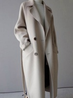 Winter Korean Long Wool Trench Coat Women Belt Pocket Blend Double Breasted Coat Oversize Trench Coat Outwear Long Wool Coat