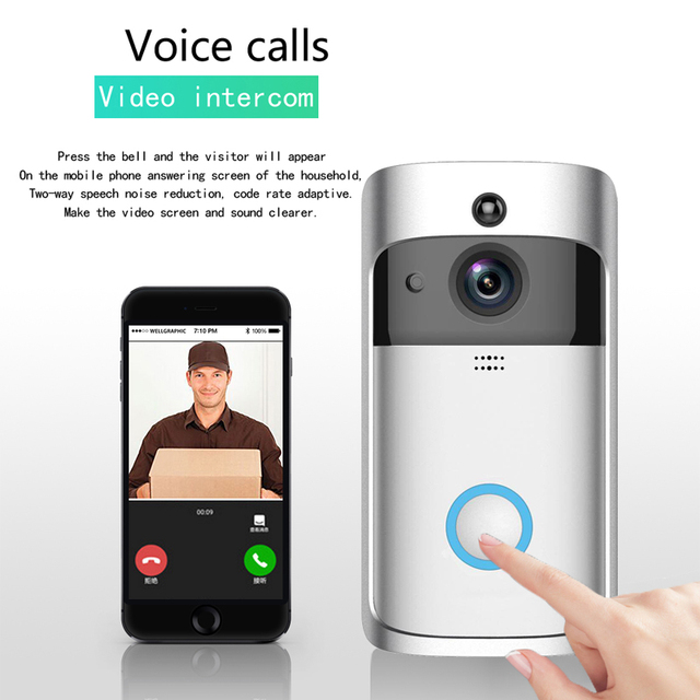 US $42 25 50% OFF|Higestone HD Wiireles Smart Video Doorbell Camera Two Way  Audio Mobile APP Remote Control iOS Android Battery Home Security WIFI-in