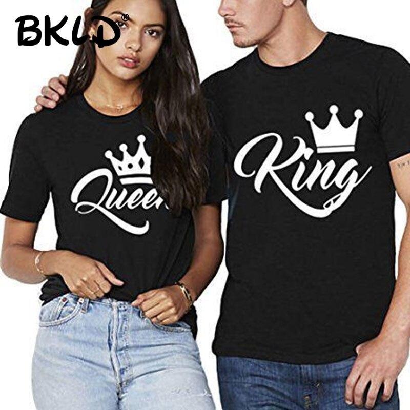 BKLD Casais Camiseta Impressão Coroa da Rainha do Rei Casal Amantes de Roupas T-shirt do Verão 2019 Casual O Pescoço Tops T Camisa